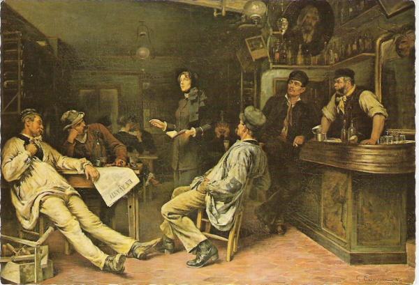 """""""Marsjallen selger """"En Avant"""" (den franske utgaven av Krigsropet) på en kro i Paris"""" - maleri av en svensk kunstner."""
