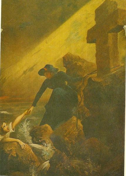 """Bildet heter """"Räddning"""" og skal være malt av en svensk frelsesoffiser, major Oskar Cederlund, tidlig på 1900-tallet. Henger i lokalet i Uppsala."""